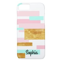 Pink, Aqua, & Gold Rectangles Personalized iPhone 7 Case