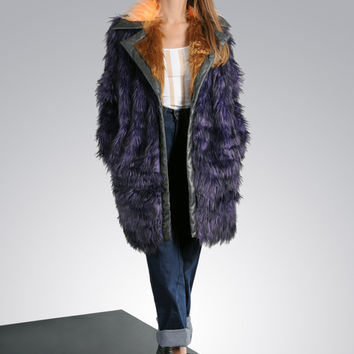 Fashion oversized faux fur coat, fake coat purpule color, warm winter coat for stylish woman. Great winter fur coat.