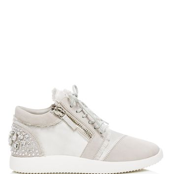 Giuseppe ZanottiEmbellished Satin and Suede Mid Top Sneakers - 100% Exclusive