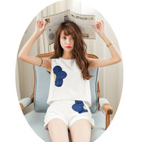 Flower Patchwork Top and Shorts Set