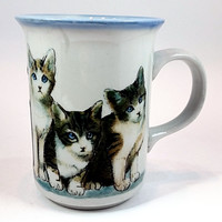 Kittens Coffee Mug Cats Tea Cup 12oz Vintage Blue Stoneware Otagiri Japan k429