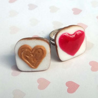 STRAWBERRY i heart you peanut butter and jelly best friend rings