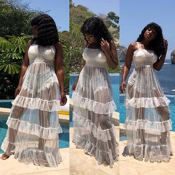 Ruffles See Through Long Sheer Mesh Maxi Dress