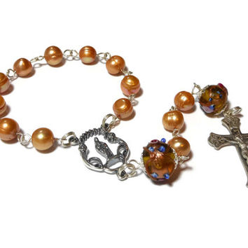 Pocket rosary, single decade, sterling silver with champagne cultured pearls, lampwork beads, sterling  crucifix and center,  free pouch