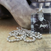 Phantom of the Opera Glass Tile Pendant - Lon Chaney, Black and White, Glass Tile, Ball Chain, Necklace