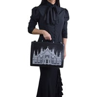 Restyle Gothic Victorian Suitcase Cathedral Embroidery Briefcase Faux Leather Bag