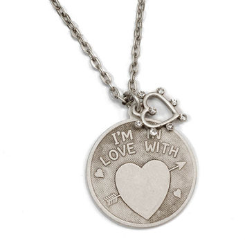 Stamped Necklace, Valentines Day Necklace, Personalized Necklace, Gift for Her, Heart Necklace, Love Necklace, Engraved Necklace N1249