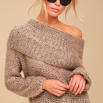 Forever Cozy Light Brown Knit Cowl Neck Sweater