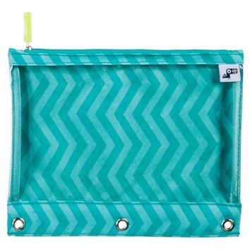 Yoobi Binder Zip Case - Aqua Chevron