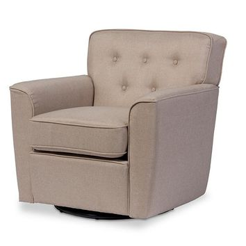 Baxton Studio Canberra Modern Retro Contemporary Beige Fabric Upholstered Button-tufted Swivel Lounge Chair with Arms Set of 1