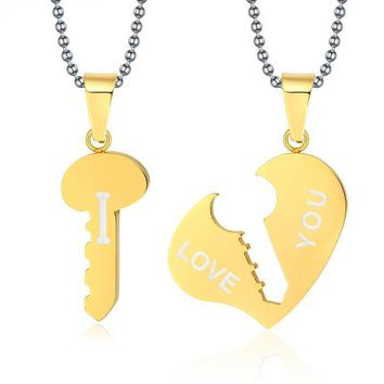 Key and Heart Necklace Sets Couple His & Hers Promise Jewelry