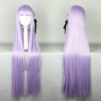 Charming Anime Cosplay Super Danganronpa 2-Kyouko Kirigiri 100cm Long Braid Purple Wig,New Highlight Ombre Colorful Candy Colored synthetic Hair Extension Hair piece 1pcs WIG-502E