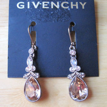 Givenchy~Brown Gold Tone~Crystal~Round and Teardrop Drop Earrings~$38~Bridal
