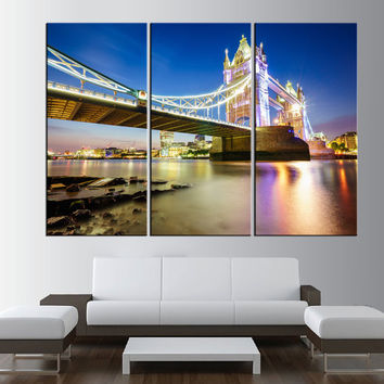 Tower Bridge in London Skyline wall art, extra large wall art print canvas, gallery art, Tower Bridge large canvas print art t372