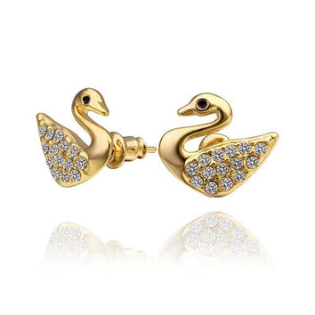 18K Gold Dove Shaped Stud Earrings Made with Swarovksi Elements