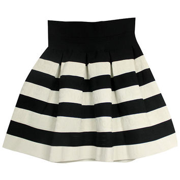 ROMWE Striped White-Black Puff Shirt