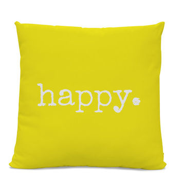 Happy Pillow - Yellow Pillow - Throw Pillow