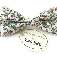 Bow Tie - white floral bow tie - wedding bow tie - white bow tie with pink, blue and green flower pattern - mens bow tie - gifts for him