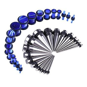 BodyJ4You 36PCS Gauges Kit Stainless Steel Tapers Blue Marble Style Plugs 14G-00G Ear Stretching Set