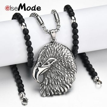 ELSEMODE Viking Retro Eagle Head Pendant Necklaces 316L Stainless Steel Black bead Chain Necklace Animal Jewelry Men Charm Gifts