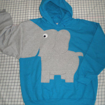 Elephant trunk sleeve HOODIE, hooded sweatshirt,  Turquoise, adult size Small