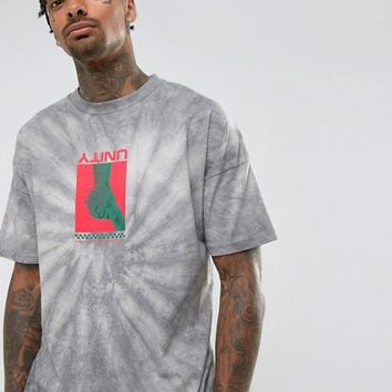 ASOS Oversized T-Shirt With Tie Dye And Unity Print at asos.com