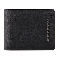 Pebbled Leather Hip-Fold Wallet, Black - Burberry