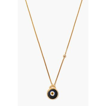 Chan Luu Black Evil Eye Necklace With Champagne Diamond