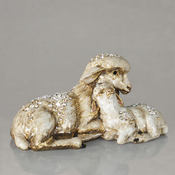 Sheep and Lamb Figurine - Jay Strongwater