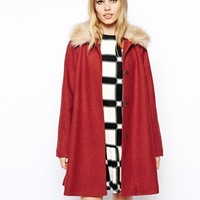 ASOS Coat in Trapeze with Faux Fur Collar