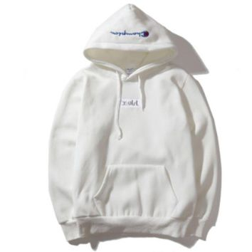 VONEYW7 champion autumn and winter back big logo plus cashmere hooded sweater white