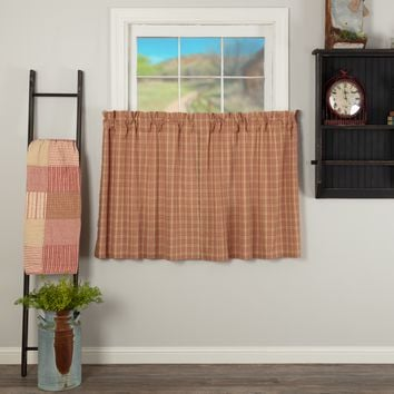 Sawyer Mill Red Plaid Tier Curtains 36""