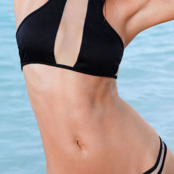 Black Racer Back Bikini Set with Sheer Mesh Cut-Outs
