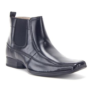 Men's 76631 Leather Lined Ankle High Square Toe Chelsea Boots