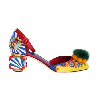Dolce & Gabbana Multicolor Carretto Crystal Mink Fur Shoes