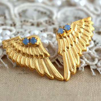 Angel wings Stud earrings aqua Swarovski Rhinestone Crystal bridesmaids gifts bridal jewelry- 24k Gold plated earrings.