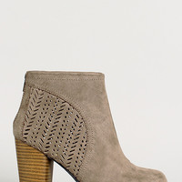 Perforated Round Toe Ankle Bootie