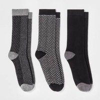 Women's 3pk Crew Socks - A New Day™ Black Mixed Texture One Size
