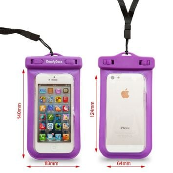 DandyCase Purple SLIM Waterproof Case for Apple iPhone 5S / 5 / 5C & Apple iPod Touch 5 (Will NOT fit other smartphones) - IPX8 Certified to 100 Feet [Retail Packaging by DandyCase]