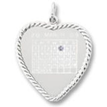 Calendar Disc Charm In Sterling Silver