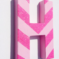 Pink glitter chevron painted letters, name letters, handpainted names, custom wall letters, baby nursery letters, chevron girls room decor
