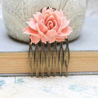 Rose Comb, Brick Pink Peach, Flower Hair Comb, Wedding Hair Accessories, Spring Floral, Shabby Chic Romantic, Cabbage Rose