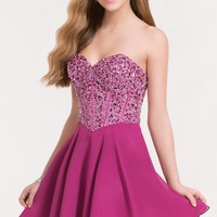 Alyce 3716 Strapless Chiffon Dress with Fully Beaded Corset Top