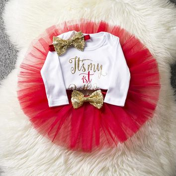 New Born Baby Girl Clothing Gold Bow Tutu Newborn Dress (Tops+Headband+Dress) Baptism Clothes Bebes First Birthday Cake Outfits