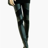 Black Leather Patch Leggings
