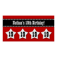 19th Birthday Banner with Stars Custom Name V19S Poster