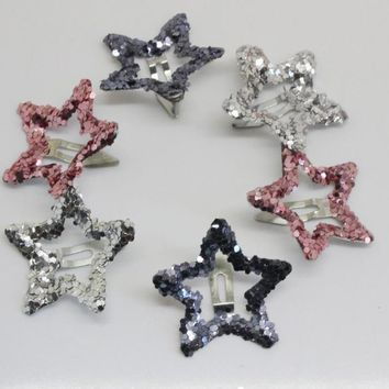 6pcs/lot kids glitter color Hair Snap Clip Kids stars headwear Five-pointed stars Hairpins hair Accessories