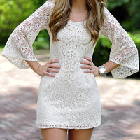 Take A Walk With Me Lace Dress: Ivory | Hope's