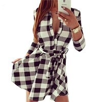 Vintage Plaid Check Print Spring Casual Dress Mini