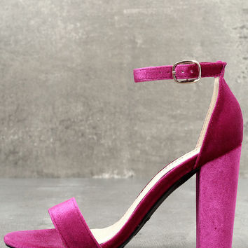 Something Sweet Fuchsia Velvet Ankle Strap Heels